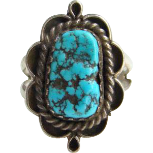 Sterling Silver Turquoise Ring Size 6.5 Navajo Style Southwestern Indian Jewelry Boho Chic