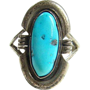 Turquoise Ring Sterling Silver Southwestern Navajo Style Size 6 Native American Indian Jewelry