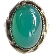 Vintage Sterling Silver Chrysoprase Ring Small Size 3 For Child