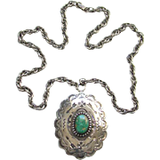Southwestern Turquoise Sterling Silver Concho Pendant Necklace Stamp Decorated