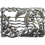 Old Danecraft Sterling Silver Frame Brooch Pin Act Nouveau Foliage Design