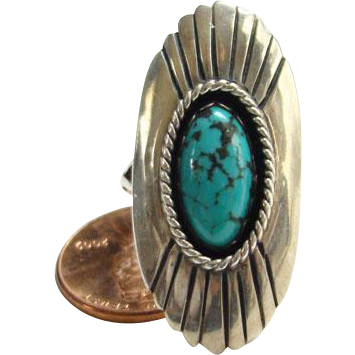 Turquoise Shadowbox Ring Signed P Sterling Silver Southwestern Tribal Size 8 Native American