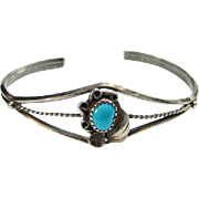 Navajo Style Turquoise Cuff Bracelet Sterling Silver Small Size Native American Indian Jewelry