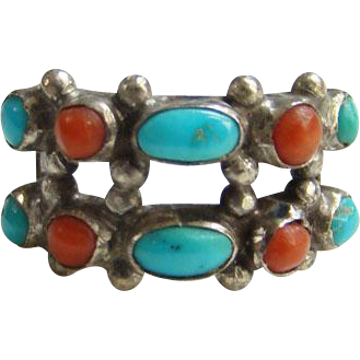Navajo Style Coral Turquoise Row Ring Size 5.75 Sterling Silver Native American Indian Jewelry