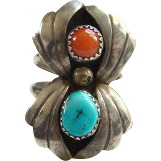 Navajo Style Coral Turquoise Shadowbox Sterling Silver Ring Size 9.25 Southwestern Indian Jewelry