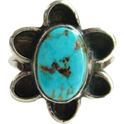 Navajo Style Blue Turquoise Ring Sterling Silver Size 6 Southwestern Indian Jewelry