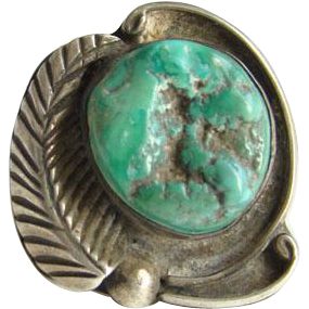 This is a Southwestern Navajo Style Turquoise Nugget Ring Size 6.75 Sterling Silver Native