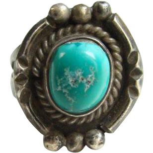 Rustic Turquoise Ring Size 9 Sterling Silver Navajo Style Southwestern Indian Jewelry