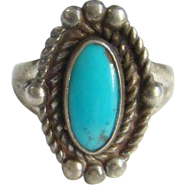 Bell Trading Post Navajo Turquoise Ring Size 5.5 Sterling Silver Signed Native American Indian Jewelry