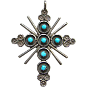 Navajo Style Turquoise Snake Eye Cross Necklace Pendant Southwestern Tribal Jewelry Native American