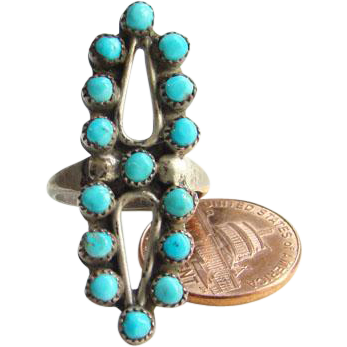 Navajo Style Snake Eye Turquoise Sterling Silver Ring Size 6.5 Indian Jewelry Boho Bohemian