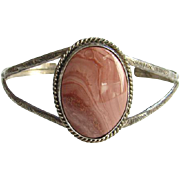 Navajo Rose Jasper Cuff Bracelet Sterling Silver Signed AT Native American Indian Jewelry