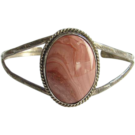 Navajo Style Rhodochrosite Cuff Bracelet Sterling Silver Signed AT Native American Indian Jewelry