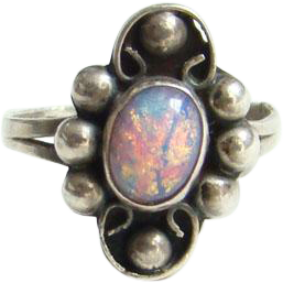 Mexico 925 Sterling Silver Foiled Opal Glass Ring Size 7.25 Vintage Eagle Mark 2 Mexican Jewelry