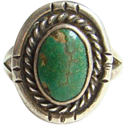 Navajo Style Green Turquoise Ring Size 7.5 Sterling Silver Native American Indian Jewelry