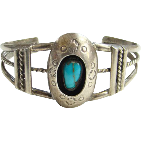 Turquoise Shadowbox Cuff Bracelet Navajo Style Sterling Silver Stamp Decorated Indian Jewelry