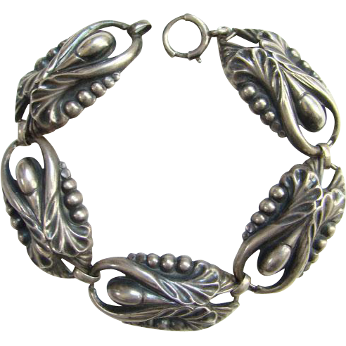 Sterling Silver Arts and Crafts Link Bracelet Stylized Floral Design Vintage Jewelry