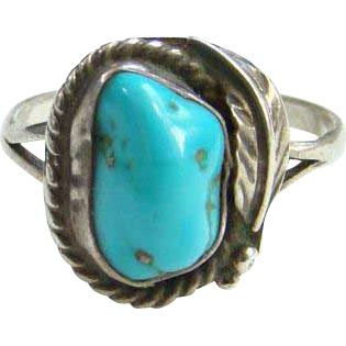 Turquoise Sterling Silver Ring Navajo Style Size 10.75 Native American Indian Jewelry