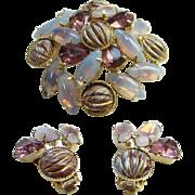 Amethyst Rhinestones Enamel Opalene Vintage Brooch Clip Earrings Demi Parure Set Vintage Costume Jewelry