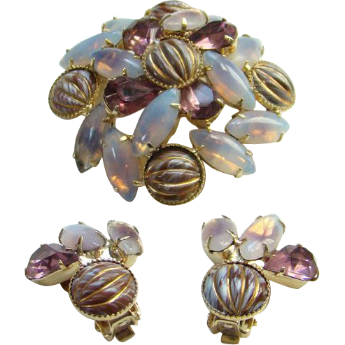 Amethyst Rhinestones Enamel Opalene Vintage Brooch Clip Earrings Demi Parure Set Vintage Costume Jewelry