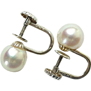 Classic Vintage 14KT White Gold and Authentic Cultured Pearl Screw Back Earrings Hallmarked