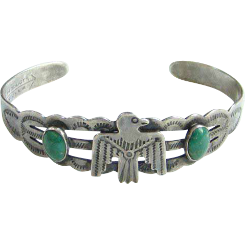 Turquoise Thunderbird Cuff Bracelet Silver Products Coin Silver 900 Native American Indian Style