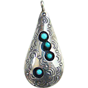 Turquoise Shadowbox Necklace Pendant Navajo Style Signed VAL Snake Eye Sterling Silver Stamp Decorated