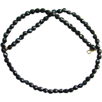 Vintage Black Glass Bead Necklace Faceted Dramatic for Evening Wear 23 Inch