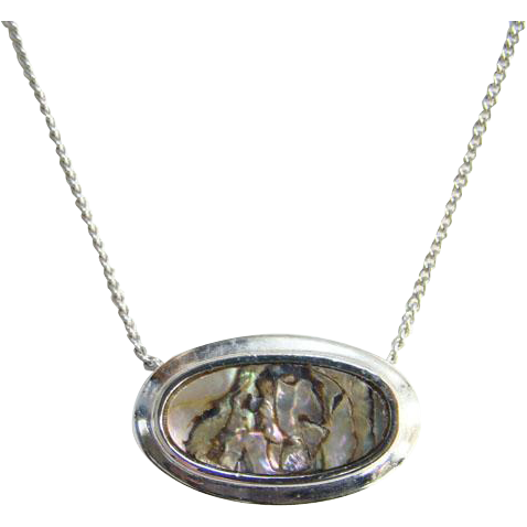 Avon Abalone Shell Necklace 1978 Set in Silvertone Signed Part of Set Avon Jewelry
