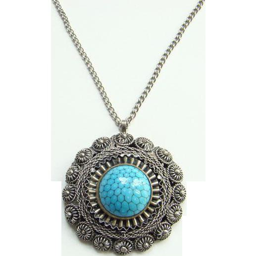 Turquoise Art Glass Plated Metal Pendant Brooch Boho Bohemian Ethnic Chic