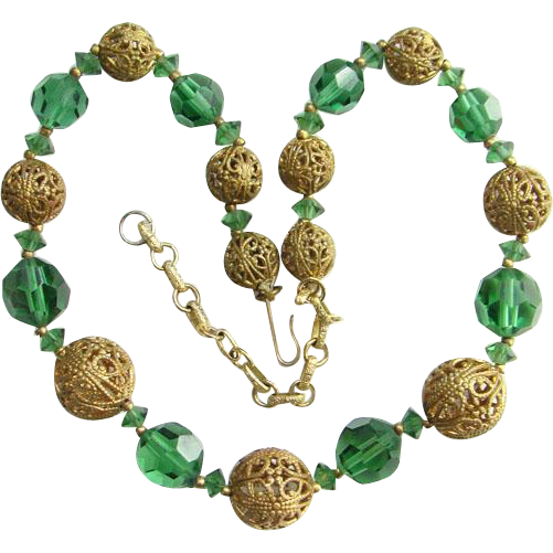 Art Deco Graduated Choker Necklace Green Crystal Bead Gold Filigree Ball C1920s