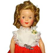 1960 Shirley Temple Doll in Cotton School Dress Tagged 12 Inch Vinyl Original Box