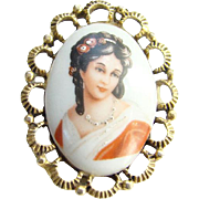 Limoges France Porcelain Cameo Brooch Hand Painted 18th Century Woman Signed