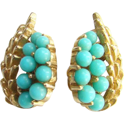 Crown Trifari Faux Turquoise Goldtone Clip Earrings Signed