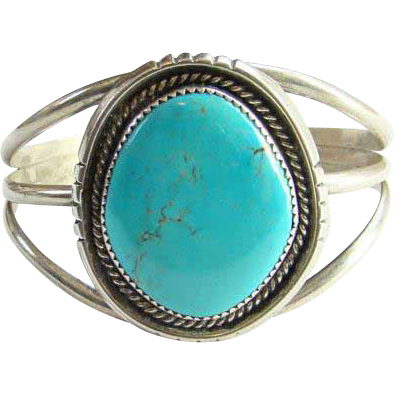 Orlando Crespin Turquoise Sterling Silver Cuff Bracelet Southwest Santo Domingo Native American