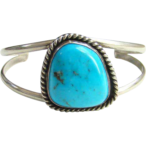 Southwestern Turquoise Cuff Bracelet Sterling Silver Blue Stone Indian Jewelry