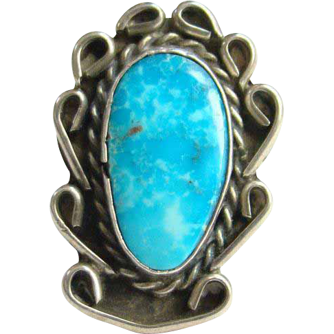 Navajo Style Turquoise Ring Size 7.25 Sterling Silver Native American Indian Jewelry