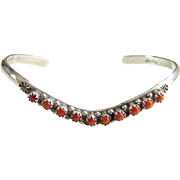 Navajo Style Coral Row Cuff Stacking Bracelet Sterling Silver Snake Eye Native American Indian Jewelry