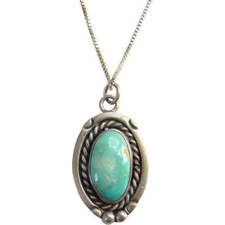Southwestern Navajo Style Turquoise Pendant Necklace Sterling Silver Indian Jewelry