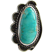 Southwestern Navajo Style Turquoise Ring Sterling Silver Size 8 Native American Indian Jewelry