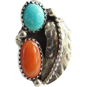Red Coral Turquoise Sterling Silver Ring Navajo Style Size 6.25 Native American Indian Jewelry