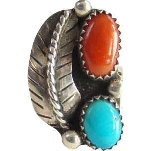 Turquoise Red Coral Navajo Style Ring Sterling Silver Size 6 Southwestern Indian Jewelry