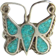 Navajo Butterfly Ring Turquoise Chip Mosaic Shiprock Sterling Silver Size 5.5