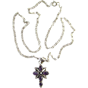 Vintage Amethyst 925 Sterling Silver Religions Cross Pendant Necklace With Chain