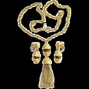Vintage Crown Trifari 1970s Gold Tone Tassel Pendant Necklace Clip Earrings Set Topaz Accent Signed