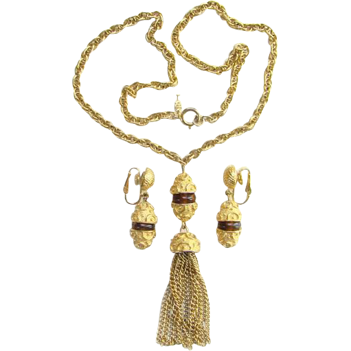 Vintage Crown Trifari 1970s Byzantine Empire Revival Gold Tone Tassel Pendant Necklace Clip Earrings Set Topaz Accent Signed