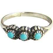 Bell Trading Post Navajo Turquoise Row Pinky Ring Sterling Silver Size 4.75 Native American Indian Jewelry