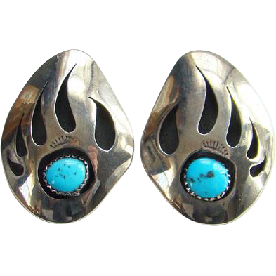 Southwestern Turquoise Sterling Silver Bear Paw Pierced Earrings Large Shadowbox Indian Jewelry