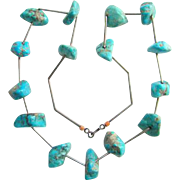 Vintage Navajo Style Turquoise Sterling Silver Nugget Necklace Native American Indian Jewelry