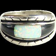 Vintage Sterling Silver Native American Tedd OTT Onyx Opal Ring Size 9.5 Hallmarked